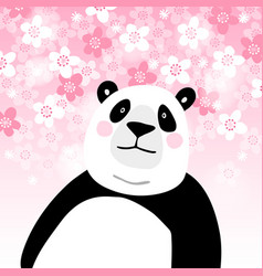 cute giant panda bear with pink cherry blossoms vector image vector image
