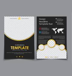 Design 2 pages of a4 black with yellow elements vector