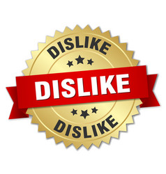 dislike round isolated gold badge vector image vector image