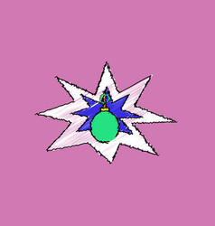 Flat shading style icon bomb explosion vector