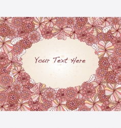 floral oval frame vector image vector image