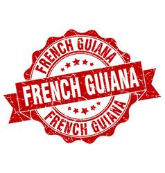 French guiana round ribbon seal vector
