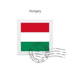 Hungary flag postage stamp vector