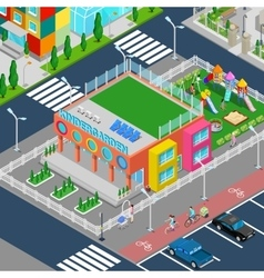 Isometric kindergarten with playground vector