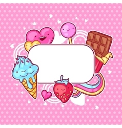 Kawaii heart frame with sweets and candies crazy vector