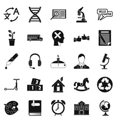 new discoveries icons set simple style vector image