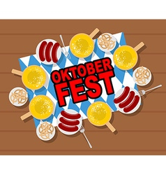 Oktoberfest beer and sausages Pretzels and grilled vector image vector image