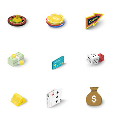 online casino icons set isometric style vector image vector image
