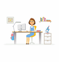online education - of girl student at vector image vector image