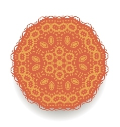 Orange mandala isolated round ornament vector