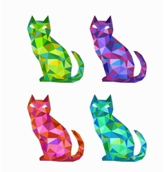 Polygonal cats vector image