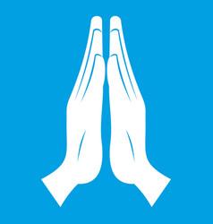 Prayer icon white vector