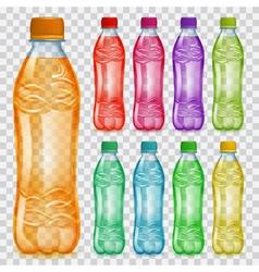 Set of transparent plastic bottles with juice vector