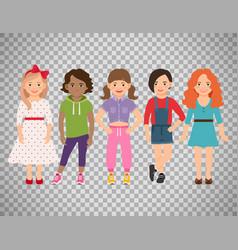 stylish girls set on transparent background vector image vector image