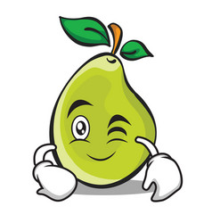 Wink face pear character cartoon vector