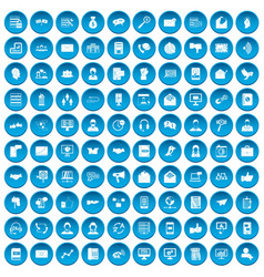 100 interaction icons set blue vector