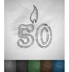 Candle fifty icon vector