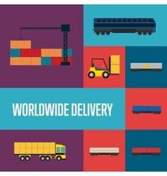 Worldwide delivery icon set vector