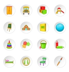Kindergarten security icons set vector
