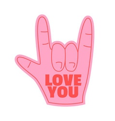 love you foam hand happy valentines day vector image