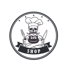 Dead skull chef grinning logo template circle vector