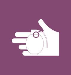 Icon frag grenade in hand vector