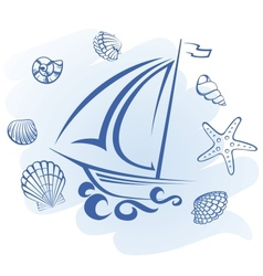 Abstract Ship and seashells vector image