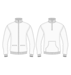 Mens roll-neck sweaters with zip and pockets vector