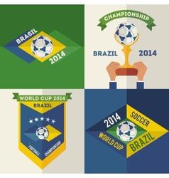 Set of flat design Brazilian soccer labels vector image