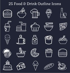 Food drink outline icons vector