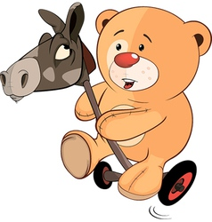 A stuffed toy bear cub and a wooden horse cartoon vector