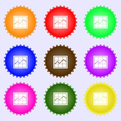 Chart icon sign a set of nine different colored vector