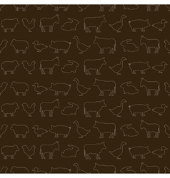 Seamless background with domestic animals vector