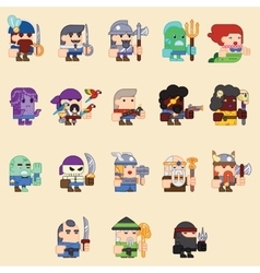 Different characters for the game zombi skeleton vector image
