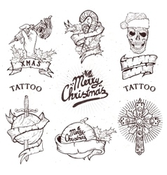 Christmas tattoo set vector