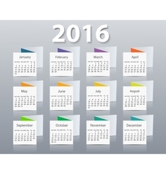 Calendar 2016 year design template vector