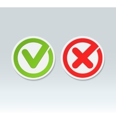 Check mark buttons tick and cross icons vector image