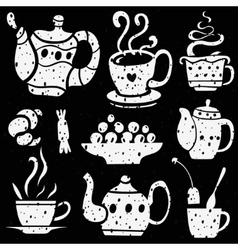 Tea cups icons vector