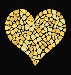 Gold heart in mosaic style vector