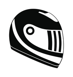 Racing helmet black simple icon vector