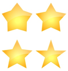 Set Of Gold Glossy Stars Icon Design vector image