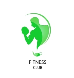 Fitness club green icon vector