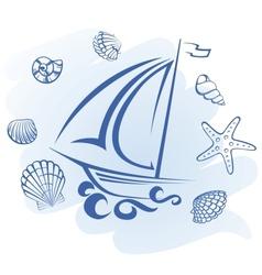 Abstract Ship and seashells vector image vector image
