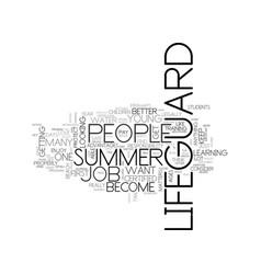 Become a summer lifeguard text word cloud concept vector