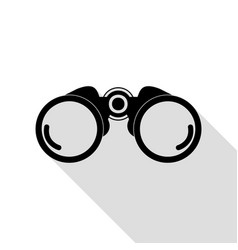 binocular sign black icon with flat vector image vector image