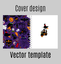 Cover design with halloween icons pattern vector