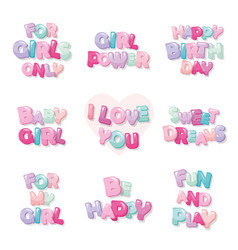 cute inscription icons for girls cartoon glossy vector image vector image