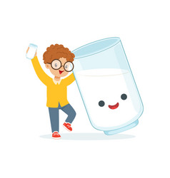 cute redhead little boy and funny milk glass with vector image vector image