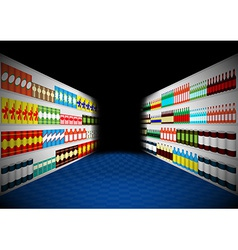 Dark supermarket shelves corridor vector