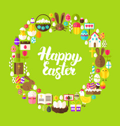 easter greetings flat circle vector image